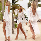 Women Lace Backless Hollow Out Beach Dress Swimsuit Cover Up Flare Sleeve Summer