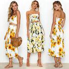 US Womens Summer Sleeveless Backless Evening Cocktail Beach Short midi Dress Set