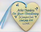 10x10cm Personalised Wood Heart Christening, Baptism Plaque Baby boy/girl gift