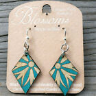 Diamond Blossoms Teal Laser Cut Wood Earrings Green Tree 149 COMBINED SHIPPING
