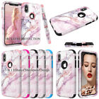Marble Case Tri-Layer Slim Soft Flexible Silicone and Hard PC Shockproof Cover