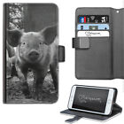 MUDDY PIG PHONE CASE, LEATHER WALLET FLIP CASE, COVER FOR SAMSUNG, APPLE, SONY