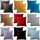 Set of 2 Velvet Cushion Covers Luxury Soft 100% Cotton Velvet Cover Pairs