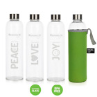 Peace Joy Love -1 Litre Glass Bottles with Stainless Steel Lid