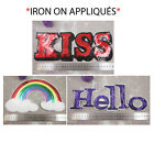 "IRON ON SEQUIN APPLIQUES  ""KISS"" ""HELLO"" RAINBOW *3 STYLES* COSTUME HABERDASHERY"