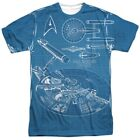 Authentic Star Trek First NCC-1701 blueprint plans Logo Front Back T-shirt top on eBay