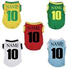 Personalize World Cup NO 10 Soccer Football Puppy Clothes Dog Dress Tee T-Shirt