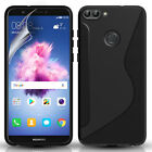 HUAWEI P SMART SILICONE GEL PHONE CASE COVER & SCREEN PROTECTOR