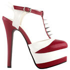 SHOW STORY Glam Two Tone T-Bar Studs Stiletto Double Platform Dress Sandals