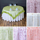 "6 x Embroidered Organza 72x72"" SQUARE Table OVERLAYS Wedding Party Decorations"