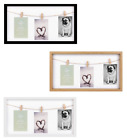 """3 Pegs Picture Frame 3 Clips Washing Line Design Photo Frame 4"""" x 6"""""""
