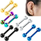 5pcs Titanium Ion Plated Cartilage Tragus Barbell Ear Ring Body Jewellery 16G image