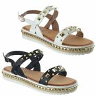 Ladies Womens Studded Flat Low Heel Stud Ankle Strap Comfy Sandals Shoes Size