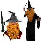 WIZARD CLOAK WITH BLONDE WIG AND BEARD SET COSTUME MAGICAL FILM PROF FANCY DRESS