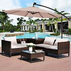 10' Garden Outdoor Hanging Umbrella Sun Shade with Solar LED Lights with Base US