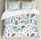 Ambesonne Unicorn Cat Duvet Cover Set Queen Size, Girls Pattern with Hearts