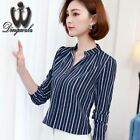 Spring Long-sleeved Striped Solid Color Plus size Chiffon Blouse For Women