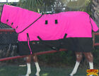 """78"""" HILASON 1200D WATERPROOF POLY TURNOUT HORSE BLANKET NECK COVER PINK BLACK"""