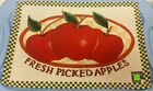 "Set of 3 Tapestry KITCHEN Placemats, 13"" x 19"", 3 FRESH PICKED APPLES"