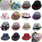 baby fedoras - Baby Girl/Boy Toddler Cap Fedora Hat Jazz Cap Photography Cotton Trilby Top US