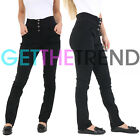 Womens Trousers Skinny Fit Ladies Stretchy 4 Button High Waist School Girls Soft