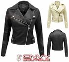 Ladies Womens Pvc Faux Pu Leather Zip Bomber Cropped Biker Jacket Coat 8-14