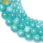 Round Blue Amazonite Color Jade Loose Beads Jewelry Making 15'' Size 6/8/10/12mm