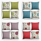 Set of 4 Cushion Covers Floral & Plain Chenille Cushion Cover Collections