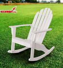 Outdoor Wood Rocking Adirondack Chair White Brown Patio L...
