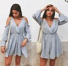 ZARA COLD OFF THE SHOULDER SHORT BLUE STRIPED JUMPSUIT FRILLED Ruffle PLAYSUIT