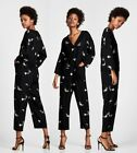 ZARA S/S18 SOLD OUT BLACK FLORAL EMBROIDERY LONG SLEEVE JUMPSUIT 3440/053 S M