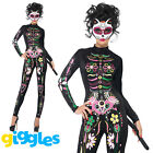 Sugar Skull Cat Costume Day of the Dead Womens Halloween Fancy Dress Outfit