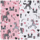 Sweet Unicorn Cotton Poplin 100% Cotton fabric Children Patchwork Castles pink