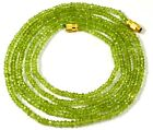 AAA Quality Natural Peritot Gemstone Rondelle Faceted Beaded Jewelry Necklace