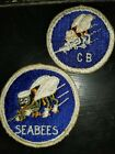 WWII US Navy USN Seabee Varaition Roped Border!!! Patch Set x2 Priced to Sell