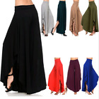 UK Boho Womens High Waist Wide Leg Long Loose Palazzo Casual Trousers Pant S-3XL