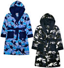 Boys Dinosaur Dressing Gown Kids New Fleece Hooded Robe Blue Khaki Age 7 - 13 Yr