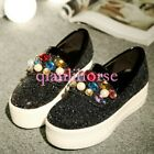 US10.5 Women Pearl Colorful Rhinestone Sequin Creeper Wedge Slip On Loafer Shpes