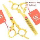 "6.0"" Golden Barber Shop Hair Beauty Cutting Scissors Sets Salon Thinning Shears"