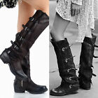 Womens Shoes Cow Leather High Gothic Punk Motorcycle Boots Cool Buckle ALL UK Sz