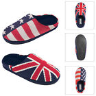 Dunlop Mens British Union Jack Or USA Stars & Stripes Flag Knitted Slipper Mule
