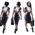 Womens Printd Short Sleeved Midi Dress Bodycon Clubwear Casu
