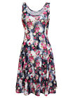 TAM WARE Women's Stylish Floral Sleeveless Skater Dress