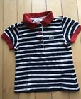 Lacoste Toddler Girl Polo Tshirt Size 2T Striped Navy Red