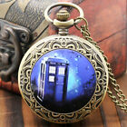 Fashion Steampunk Doctor Who TARDIS Necklace Quartz Pocket Watch Retro Chain image