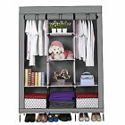 Portable Canvas Wardrobe Closet Storage Organizer Cupboard Cloth Rack & Shelves