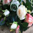 Artificial Bulgaria Roses 1 Branch (2 Heads) 67cm Soft Sweet Pastel Water Color