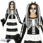 Child Girls Corpse Bride Skeleton Day Of The Dead Halloween Fancy Dress Costume