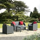 Allibert Oklahoma Anthracite Grey Rattan Effect Garden Furniture Set Cushions