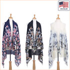 New Women Fashion Floral Printed Chiffon Open Front Sleeveless Vest - 30039